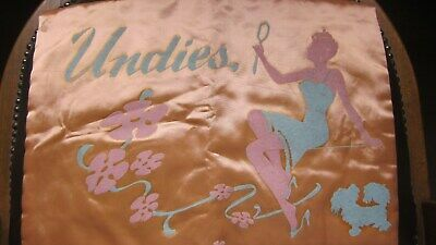 1950,s orig.vint. satin lingerie case in peach/blue rayon satin.Great graphics!
