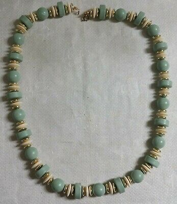 "GT Metal & Cream Disk Bead Mint Green Round Oval Plastic Bead 24"" Necklace"