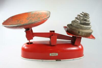 VINTAGE HARPER RETRO METAL KITCHEN  SCALES with 6 weights Made in England