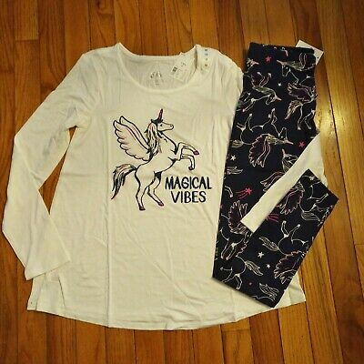 NWT Justice Girls Outfit Magical Vibes Unicorn Top/Leggings Size 12