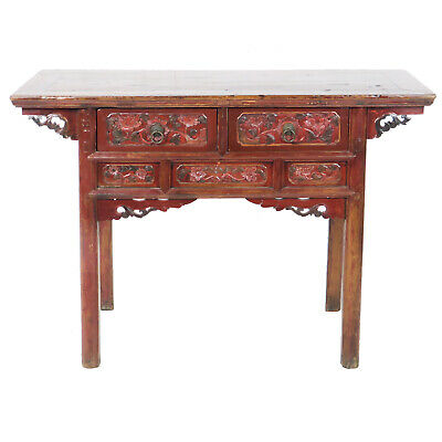 "Antique Chinese Asian 50"" 2 drawer Red Brown Table Cabinet Vanity with Carvings"
