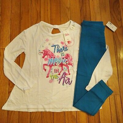 NWT Justice Girls Outfit Flip Sequin Unicorn Top/Full Length Leggings Size 6 7