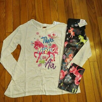 NWT Justice Girls Outfit Flip Sequin Unicorn Top/Full Length Leggings Size 8