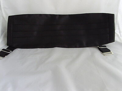 "Mens 100% Silk BLACK Cummerbund + White Hankie> up to 48"" Waist>P&P2UK>1st Class"