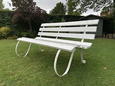 Gorgeous Vintage White Painted Garden Bench Wooden Slatted Wrought Iron Antique
