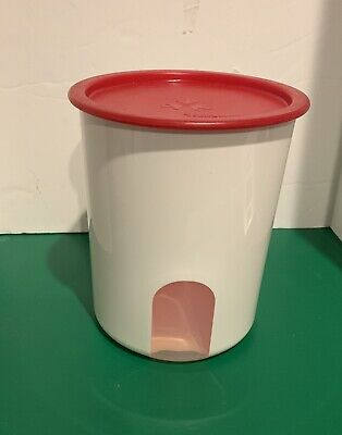 """TUPPERWARE ~  ONE TOUCH CANISTER ~ SIZE """"B"""" 7"""" Tall. White w/ Red Seal"""
