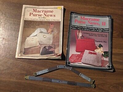 Vintage Macrame Purse Spring Frames + Magazines With Designs And Patterns