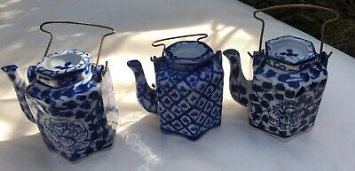 3 X Antique Beautiful small chinese teapots blue and white