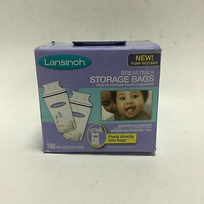 Lansinoh Breast Milk Storage Bags Click N Secure Seal Storing or Freezing 100 CT