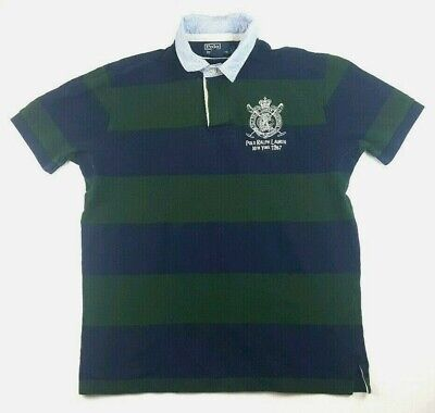 Ralph Lauren Green Blue Stripe Rugby Polo Big Logo New York 1967 club pit patch