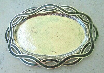 Signed Los Castillo Silver Plate Hand Hammered tray with Stone Inlay Border