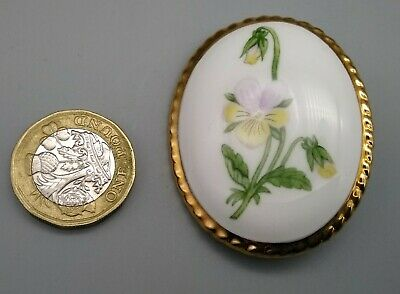 Vintage English Porcelain Aynsley Pansy Floral Brooch Lapel Pin with Gilded Edge
