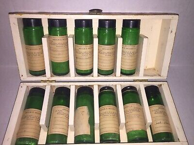 Vintage Veterinarian Apothecary Wood Box Bottles 1950's Vet Medicine Estate
