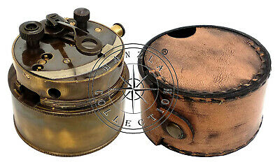 Henry Barrow & Co. London Collectable Brass Pocket Sextant With Leather Case