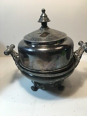 Antique 1885 Wilcox Silverplate 3 Piece Butter Dish