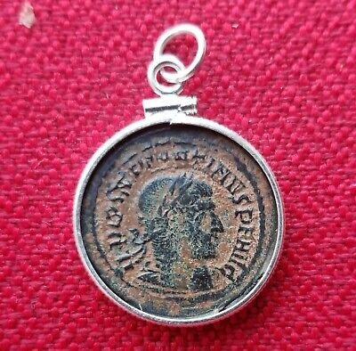 Constantine the Great Genuine Ancient Roman Coin 925 Solid Silver Pendant Charm
