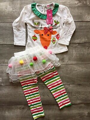 Christmas Reindeer & Tutu Leggings Girls Boutique Outfit Two-Piece Set 12-18 Mos