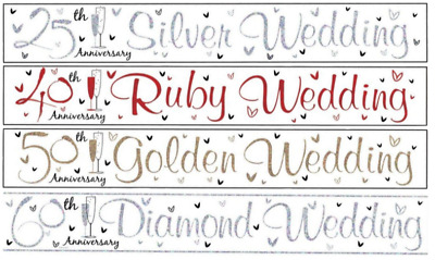 9ft Banner Silver Pearl Ruby Golden Diamond Wedding Engagement Anniversary Party