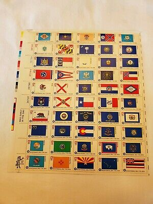 BICENTENNIAL STATE FLAGS (1976) Full Mint Sheet of 50 Postage Stamps