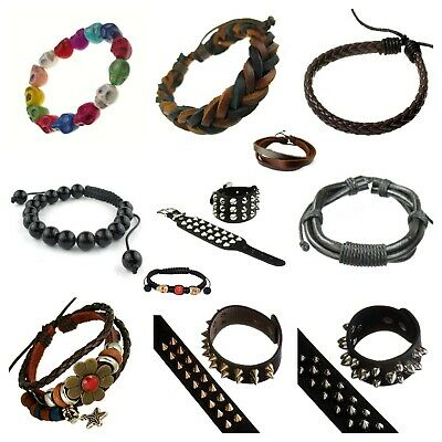 Wholesale Joblot Of 50 Gothic, Emo, Rock & Biker Bracelets & Cuffs Black Spike