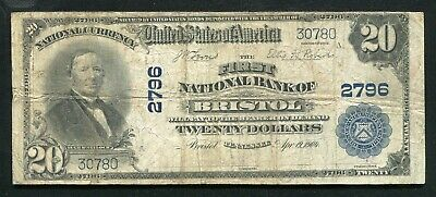 1902 $20 The First National Bank Of Bristol, Tn National Currency Ch. #2796
