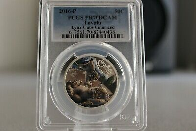 2016-P 50C Tuvalu LynxCubs Colorized Silver Proof Coin PCGSPR70DCAM FS