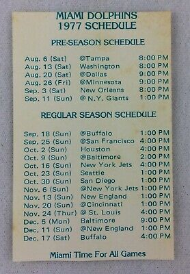 NFL 1977 Miami Dolphins Football Pocket Schedule Card - Pabst Blue Ribbon Beer