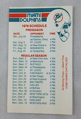 NFL 1978 Miami Dolphins Football Pocket Schedule Card - National Airlines