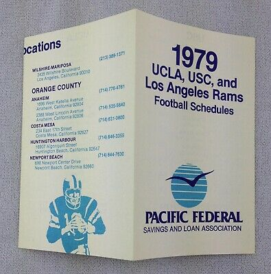 NFL 1979 Los Angeles Rams, UCLA & USC Combo Football Schedule - Pacific Federal