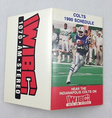 NFL 1990 Indianapolis Colts Pocket Football Schedule - WIBC