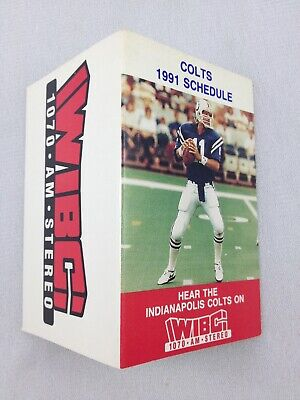 NFL 1991 Indianapolis Colts Pocket Football Schedule Card - WIBC