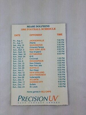 NFL 1995 Miami Dolphins Football Magnet Schedule -Precsision UV