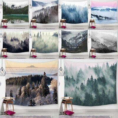 Misty Forest Tapestry Nature Green Tree Foggy Mountain Landscape Wall Hanging
