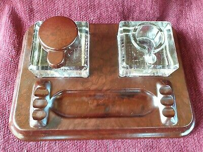 Art Deco Bakelite Ink Stand.bakelite And Glass Ink Well & Stand
