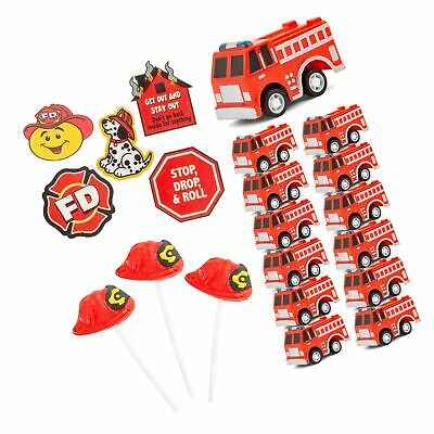 Firefighter Hat Shaped Lollipop Suckers Birthday Event Novelty For Boys /& Girls Favonir/™ Fireman Themed Party Favor Supplies FD Temporary Tattoos 96 Pc Pull Back Fire Truck Toy