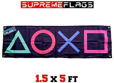 PlayStation Flag Banner Videogame Arcade Console PS Video Game(18x58 in)