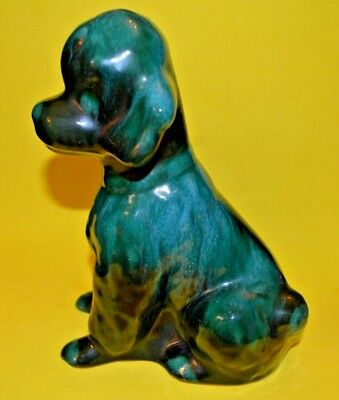 "Vintage Rare Blue Mountain Pottery 7.5 "" TALL x 6"" LONG GREEN GLAZE POODLE - BMP"