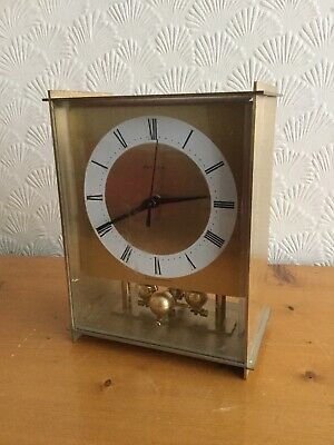 German Hettich Brass Mantle Battery Clock, Untested Spares Or Repairs, No Back