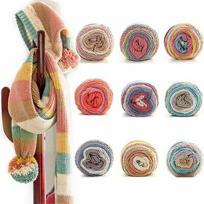 DIY Rainbow Color Scarf Sweater Hand-woven Cotton Wool Yarn Crochet Knitting