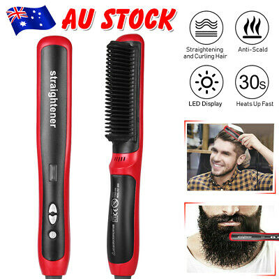 Beard Straightener Hair Styler Multifunctional Comb Curler Show Cap Men AU