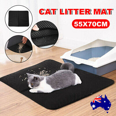 Cat Litter Trapping Mat Double Layer Honeycomb Design Foldable Tray Trap Pad AU