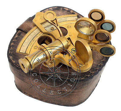 """4"""" Antique Brass Sextant With Leather Case Nautical Henry Barrow Ship Astrolabe"""