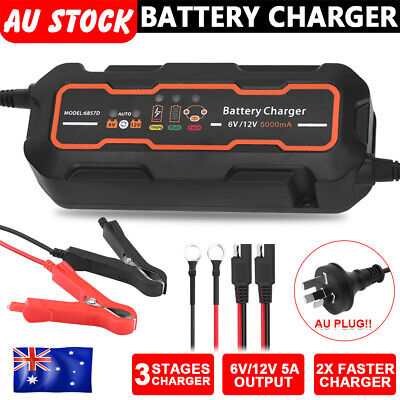 Smart Battery Cable Charger 5A 12V/6V Auto SLA Motorbike Car Boat Deep Cycle AGM