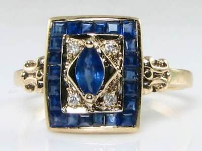 Quality 9K 9Ct Gold Art Deco Ins Natural Blue Sapphire & Diamond Ring Free Size