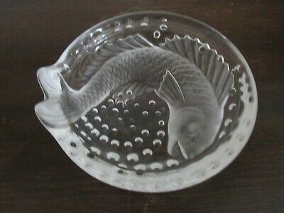 """Lalique France Concarneau Caviar Bowl Frosted Crystal Koi Fish Dish Signed 6"""""""
