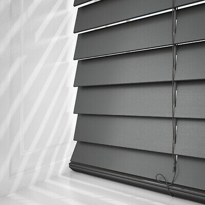Grey Wood Venetian Blinds - Ready Made With 50Mm Slats Solid Wood & Easy Fit