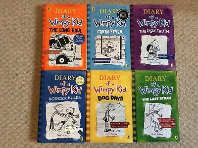 VGC Diary of a Wimpy Kid, collection of 6 childrens books Bundle by Jeff Kinney