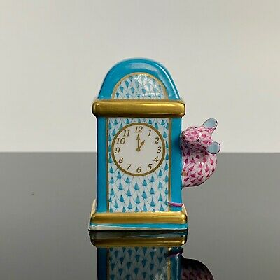 Herend Hickory Dickory Dock Clock Turquoise Raspberry Fishnet Nursery Rhyme MINT
