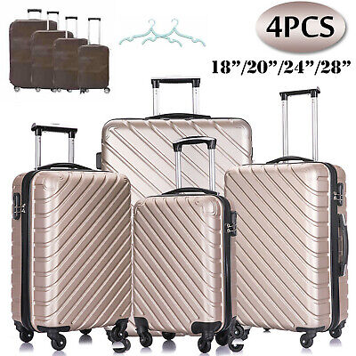 3 Piece Luggage Suitcase Sets ABS Spinner Wheels Hardshell Travel Mobile Cases