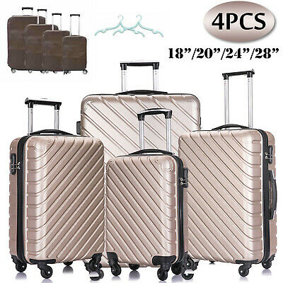 4 Piece ABS Hardshell Luggage Spinner Suitcase Set Trolley Carry On Champagne